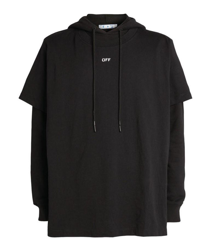 Off-White Stencil Double Tee Hoodie Black / White