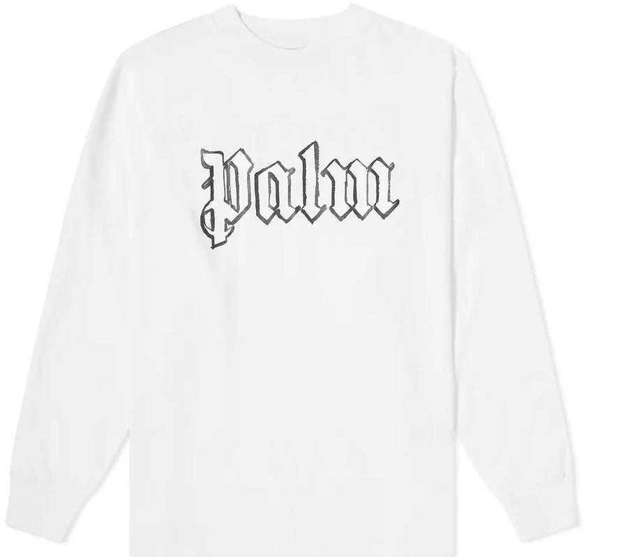 Palm Angels Blank Logo Over Tee L/s White Glow