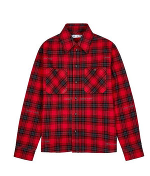 Off-White Stencil Flannel Check Shirt Red / Black