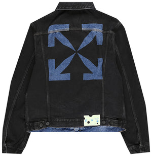 Off-White Stencil Slim Denim Jacket Black / Medium Blue