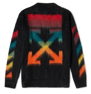 Off White Diag Brushed Mohair Crewneck Black / Rainbow