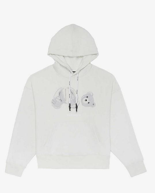Palm Angels Ice Bear Hoody Ice Blue / White
