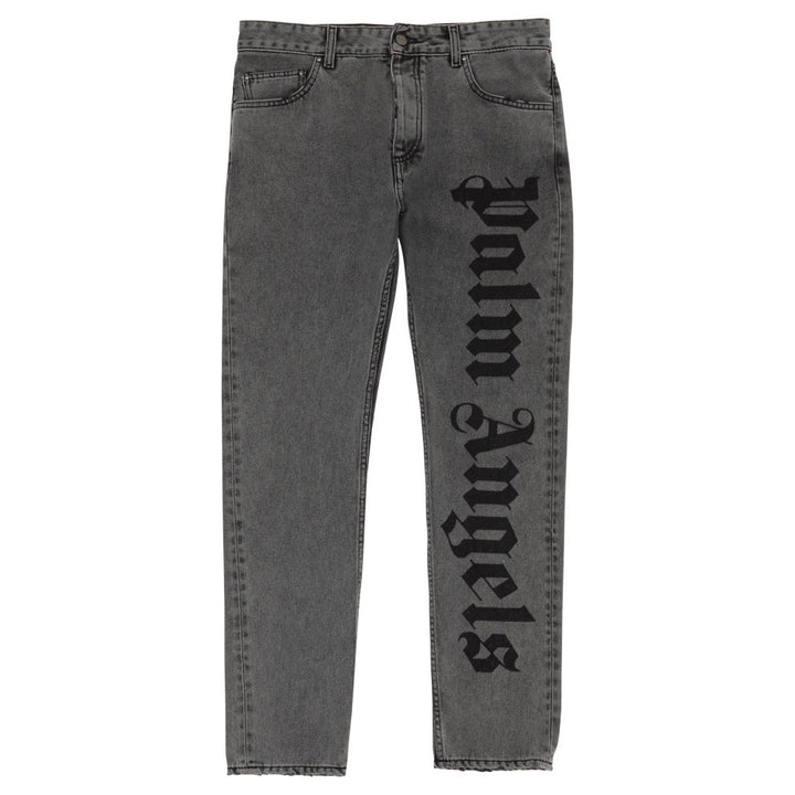 GW Needled Logo 5 Pocket Jeans - Dark Grey | Palm Angels