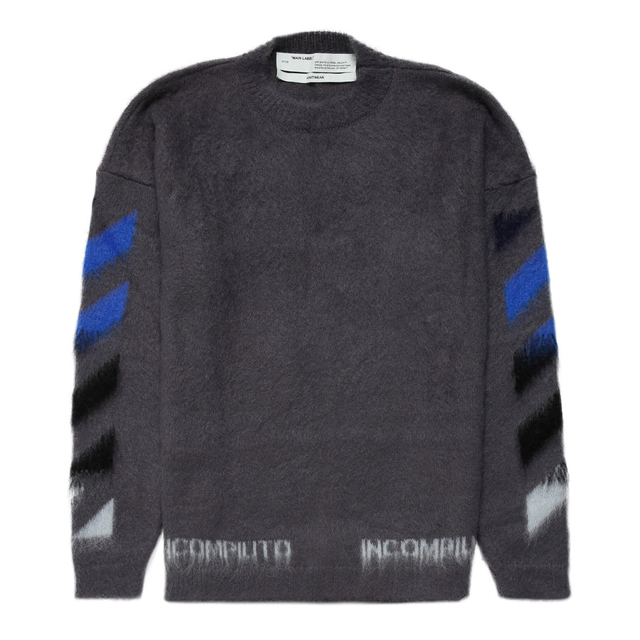 Diag Brushed Mohair Crewneck - Mange Grey | Off-White