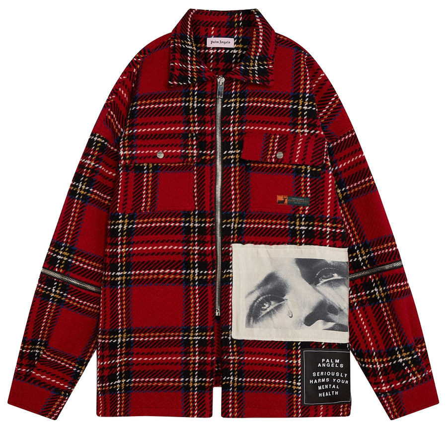 Check Zipped Overshirt - Red Black | Palm Angels