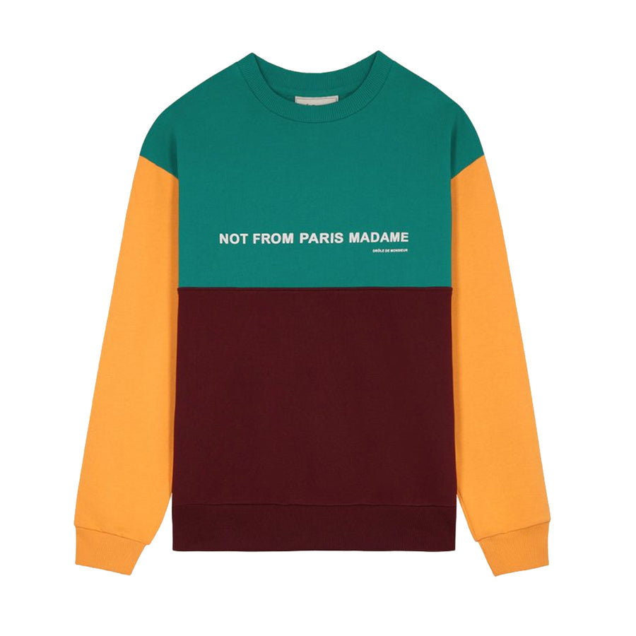 Drole De Monsieur Panelled Slogan Sweatshirt Multi2