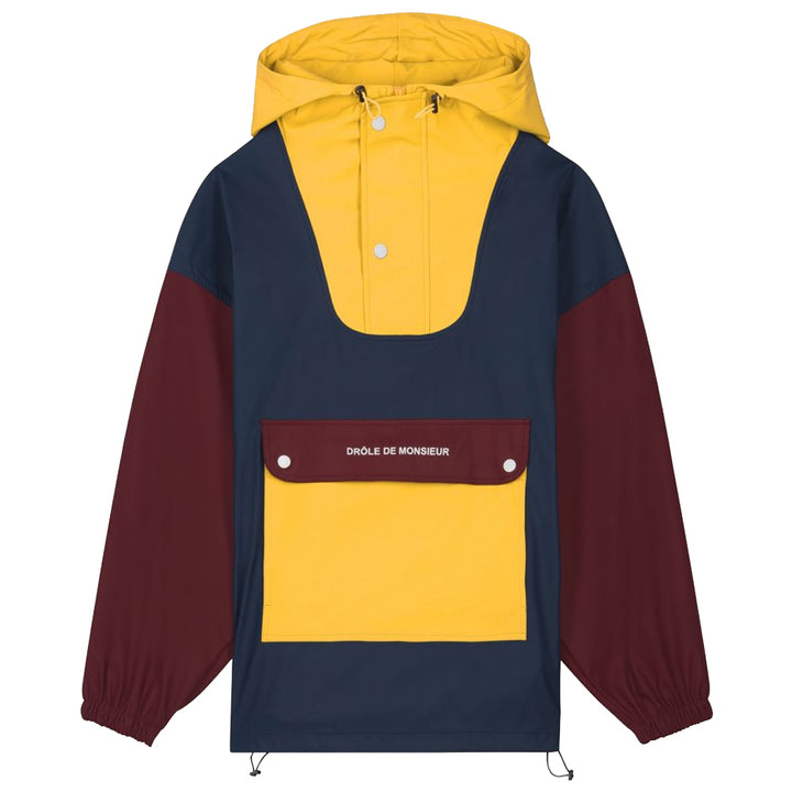 Waterproof Paneled Anorak - Burgundy Navy Yellow | Drôle De Monsieur