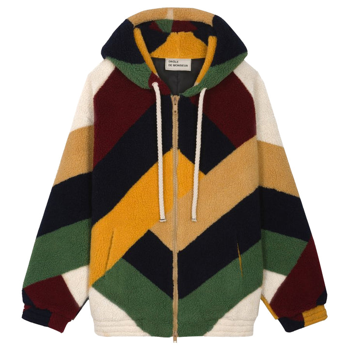 Oversize Graphic Sherpa Coat - Multi | Drôle De Monsieur