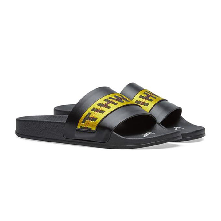 Off White Industrial Belt Sliders Black