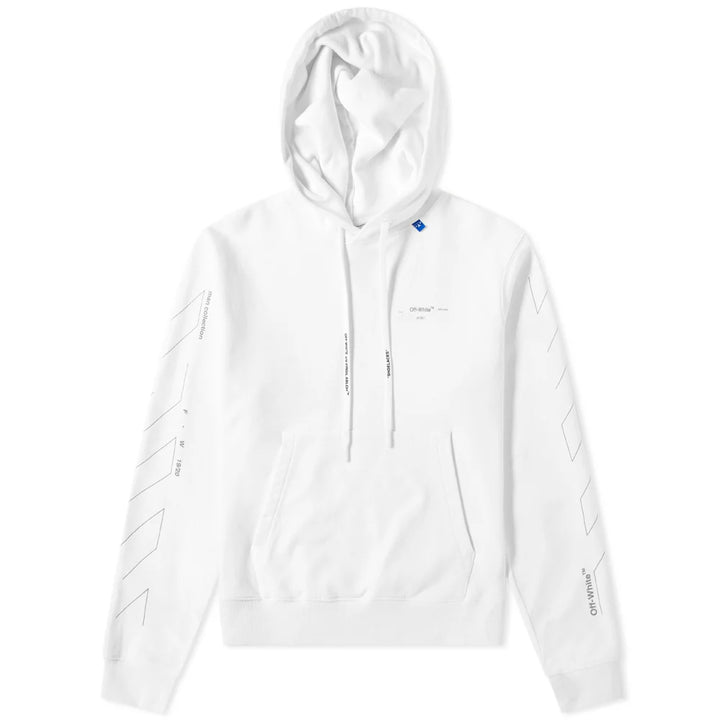 Diagonal Unfinished Slim Hoodie - White Silver | Off-White