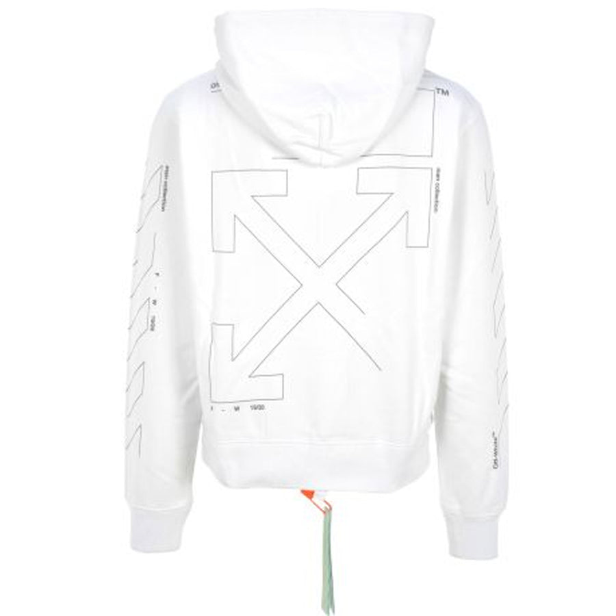 Off White Diagonal Unfinished Slim Hoodie White Silver