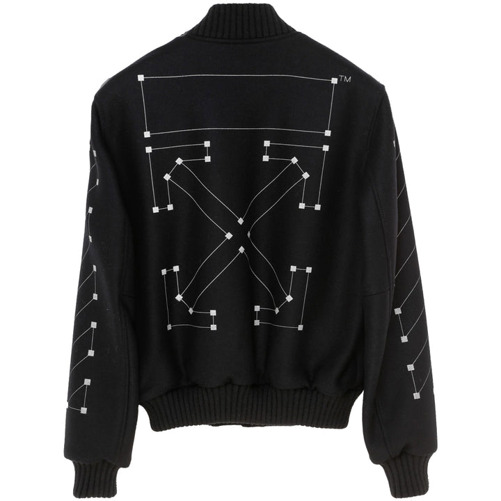 Off White Embroidered Skinny Varsity Black Silver