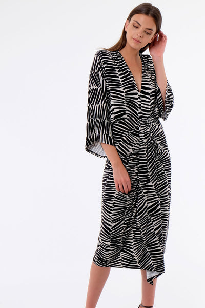 Zebra Deep V Dress