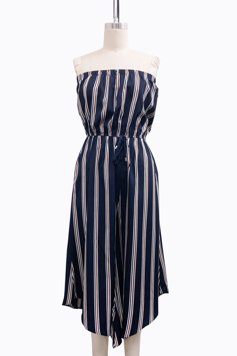 Strapless Striped Jumpsuit