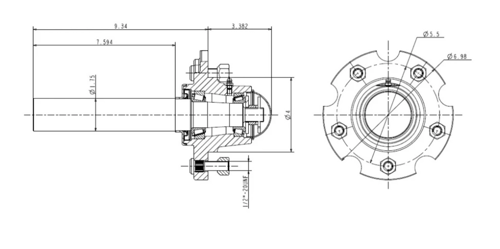 25-5 / 5 Bolted Hub with Bearings & Spindle Assembly