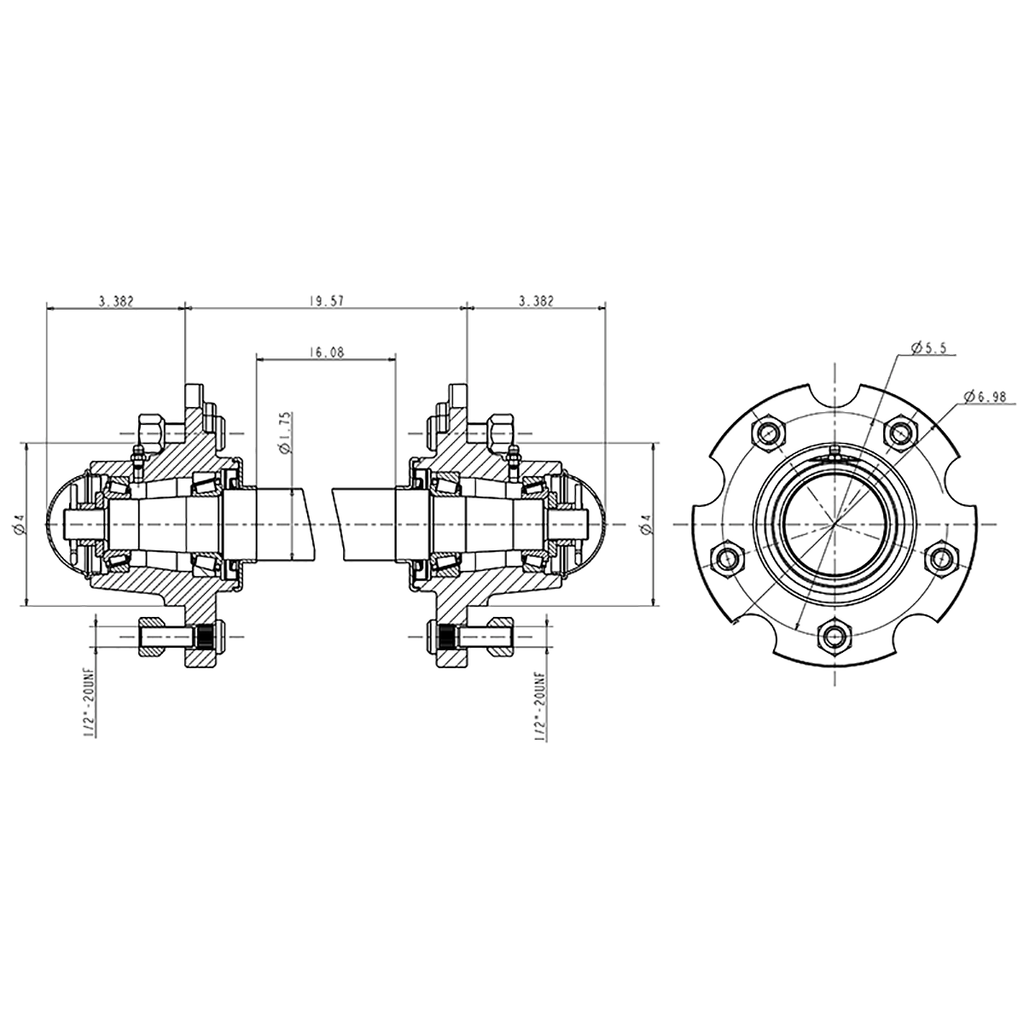 G25-5-Dual / 5 Bolted Hub with Bearings & Spindle Assembly