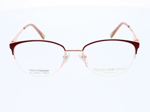 Womens Glasses Frames in Burgundy and Rose Gold by Designer Ruud Van Dyke