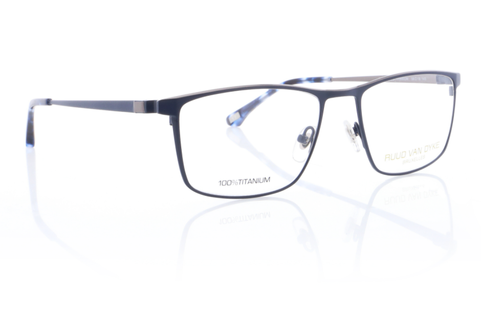 Titanium Designer Glasses Frames for Men in Matte Blue by Ruud Van Dyke