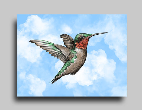 Ruby-Throated Blue - Canvas