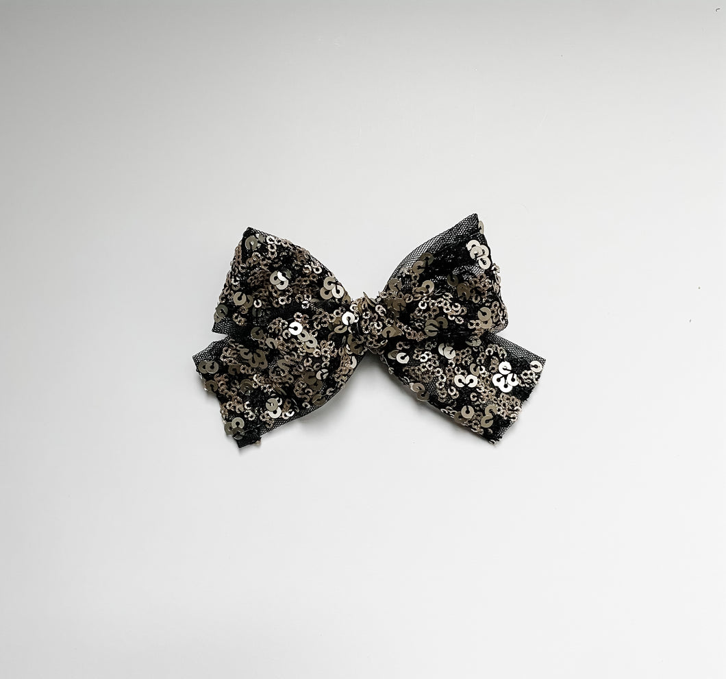 Black & Silver Sequined Embroidered Bow