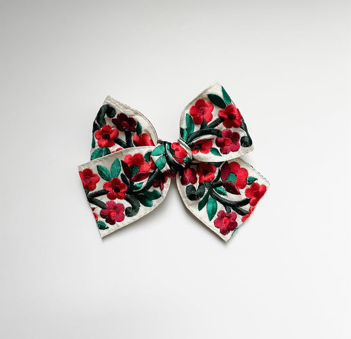 Red & Green Floral Embroidered Bow