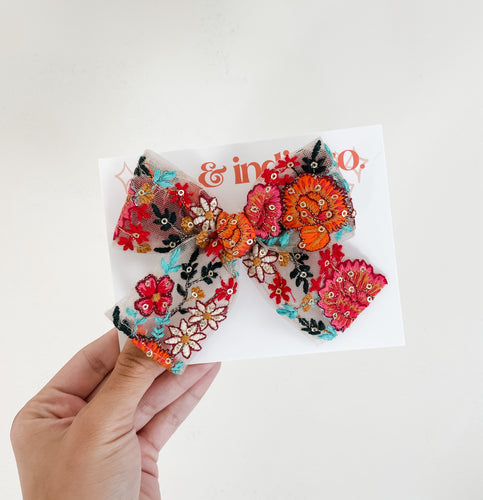 Floral Embroidered Bow
