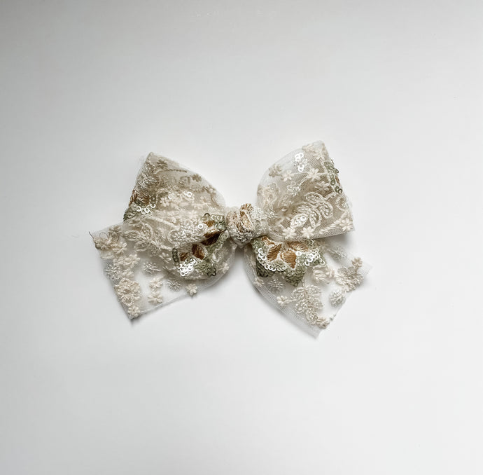 Ivory Embroidered Bow