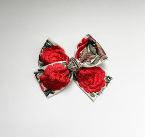 Red Floral Embroidered Bow