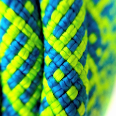 Closeup of Sterling Dynamic Climbing Rope Evolution Helix 9.5 Double Dry DRYXP treated green rope