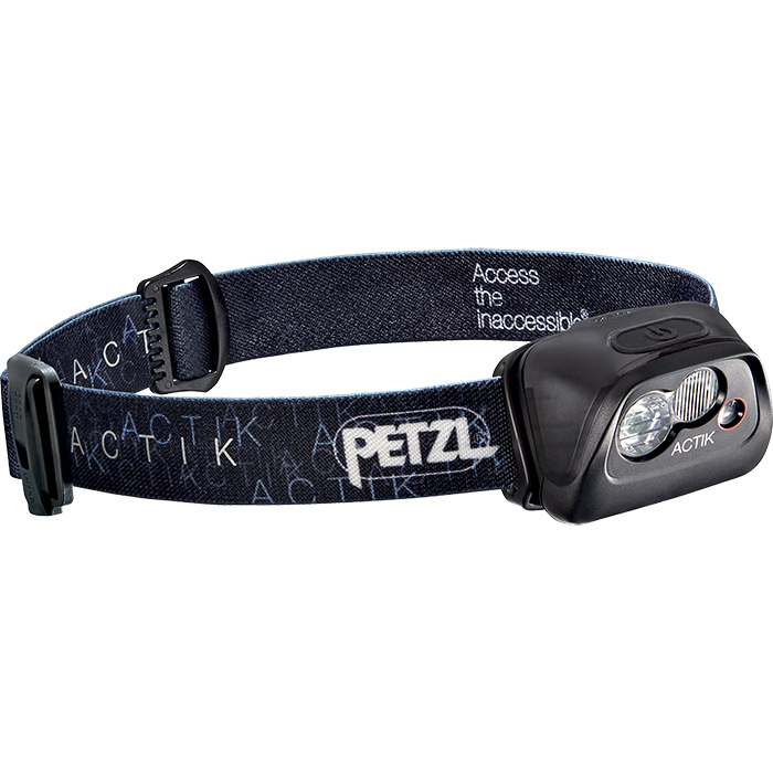 Petzl Actik Headlamp 300 Lumens Rechargeable Core Battery AAA Mixed Beam Strobe Red Light Mode Reflective Adjustable Strap Rescue Whistle Black