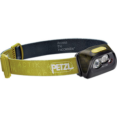 Petzl Actik Headlamp 300 Lumens Rechargeable Core Battery AAA Mixed Beam Strobe Red Light Mode Reflective Adjustable Strap Rescue Whistle Green
