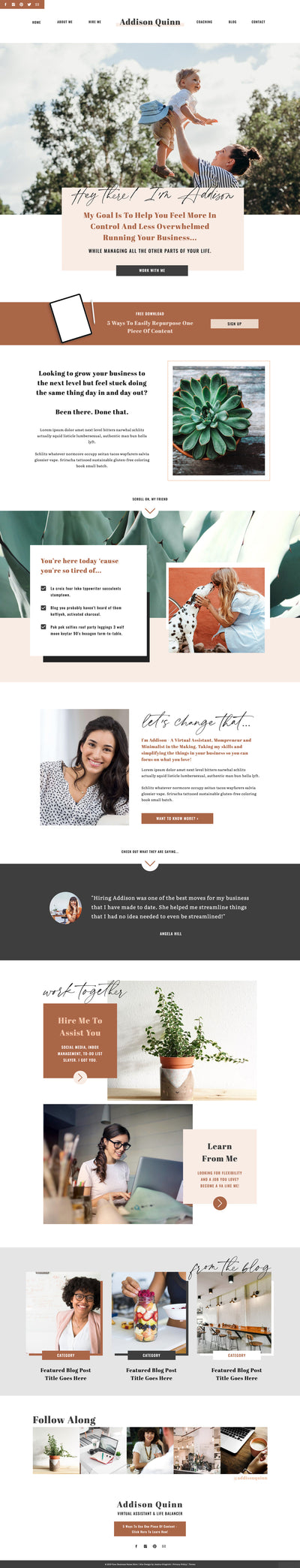 """Addison Quinn"" Showit Template - jessica gingrich"