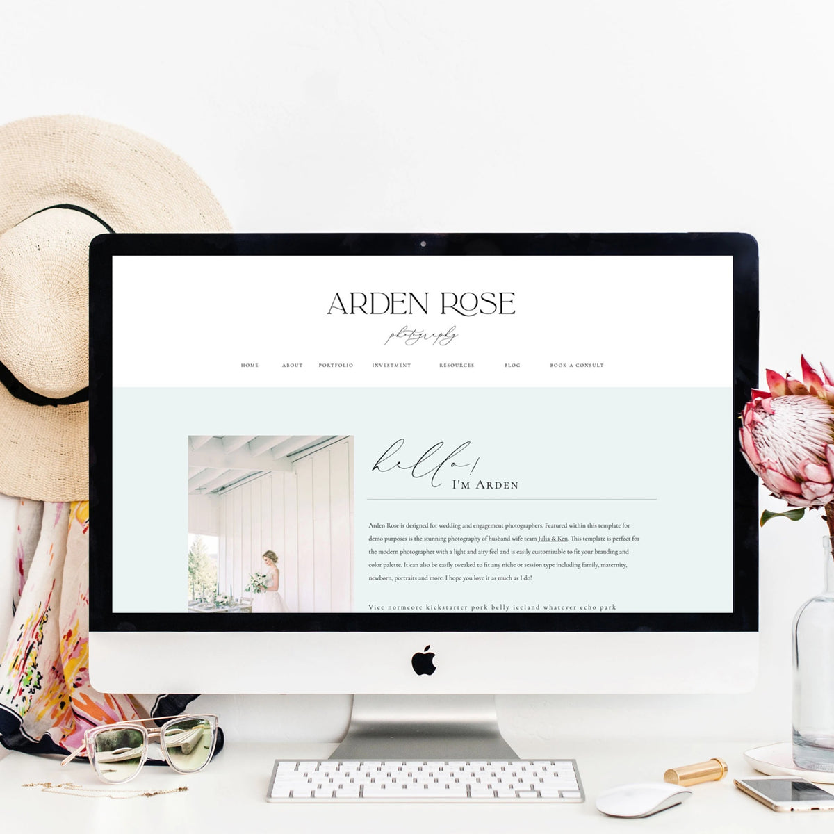 """Arden Rose"" Showit Template - jessica gingrich"