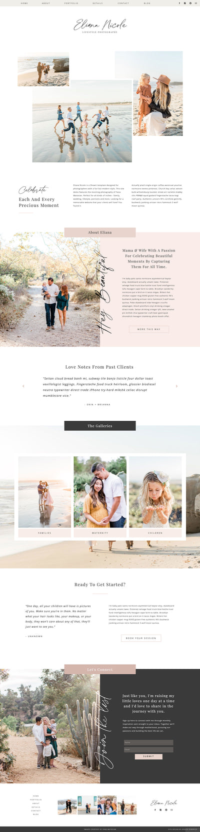 """Eliana Nicole"" Showit Template - jessica gingrich"