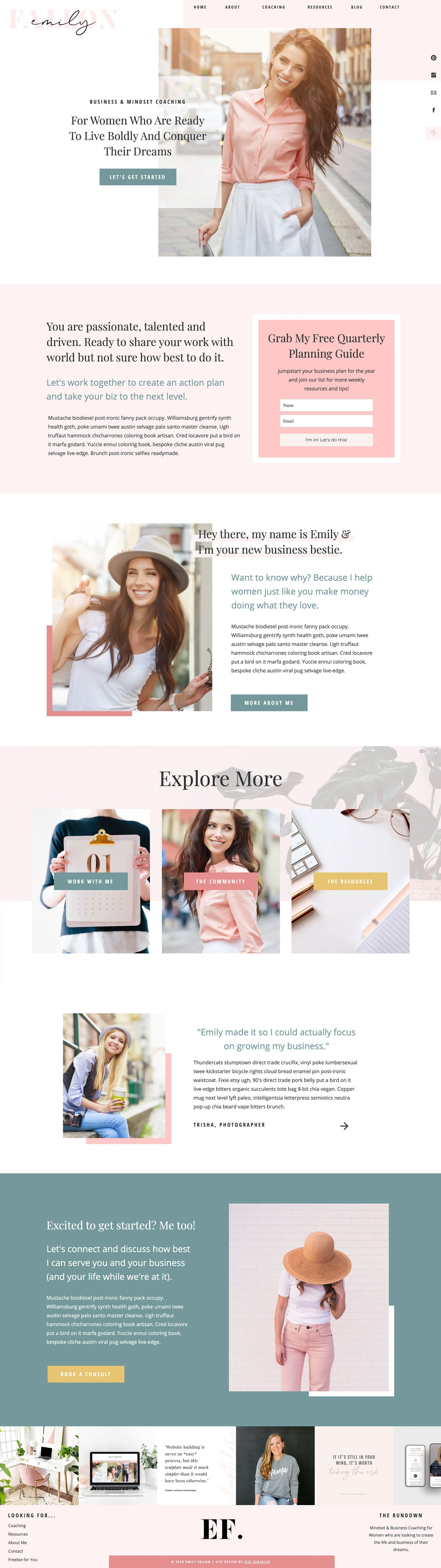 """Emily Fallon"" Showit Template - jessica gingrich"