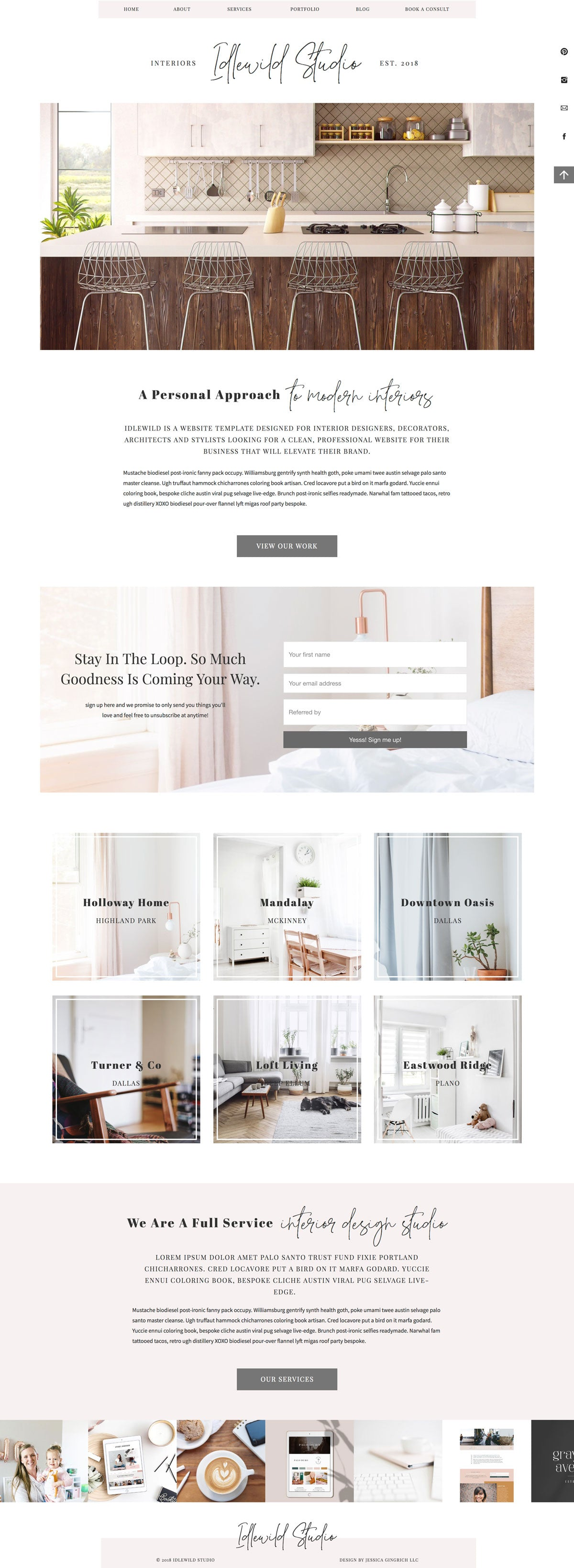 """Idlewild Studio"" Showit Template"