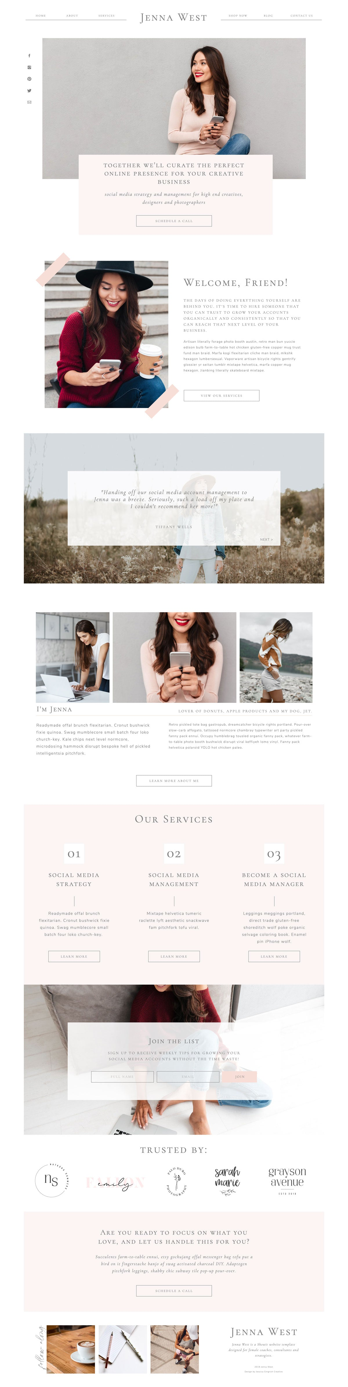 """Jenna West"" Showit Template - jessica gingrich"