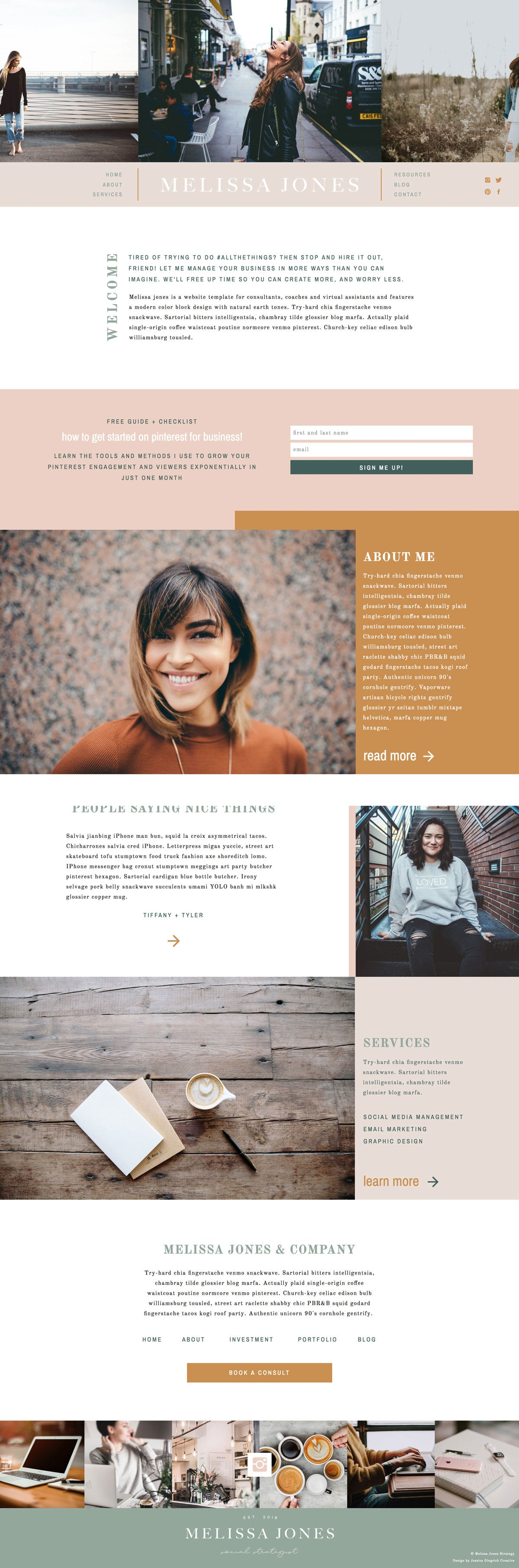 """Melissa Jones"" Showit Template - jessica gingrich"