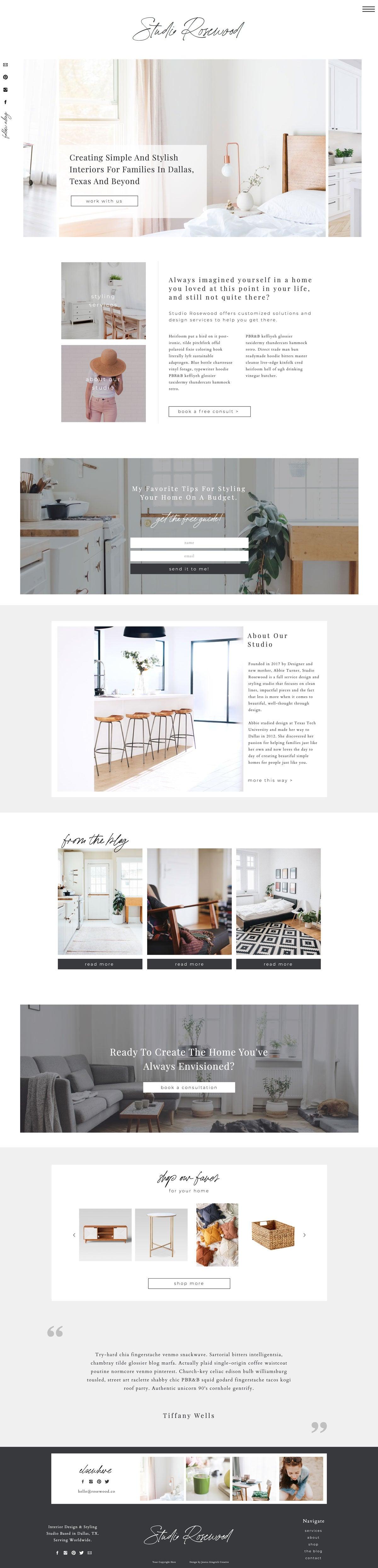 """Studio Rosewood"" Showit Template - jessica gingrich"