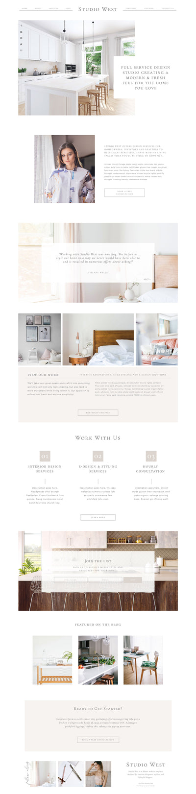 """Studio West"" Showit Template - jessica gingrich"