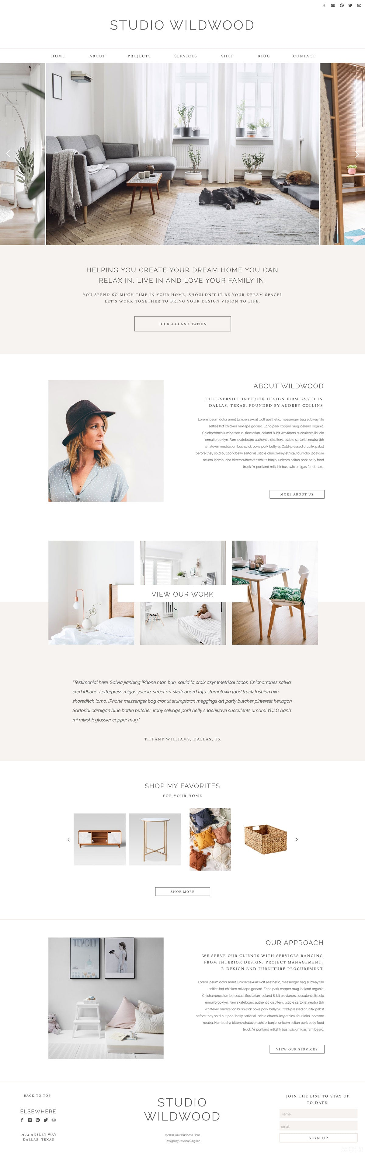 """Studio Wildwood"" Showit Template - jessica gingrich"