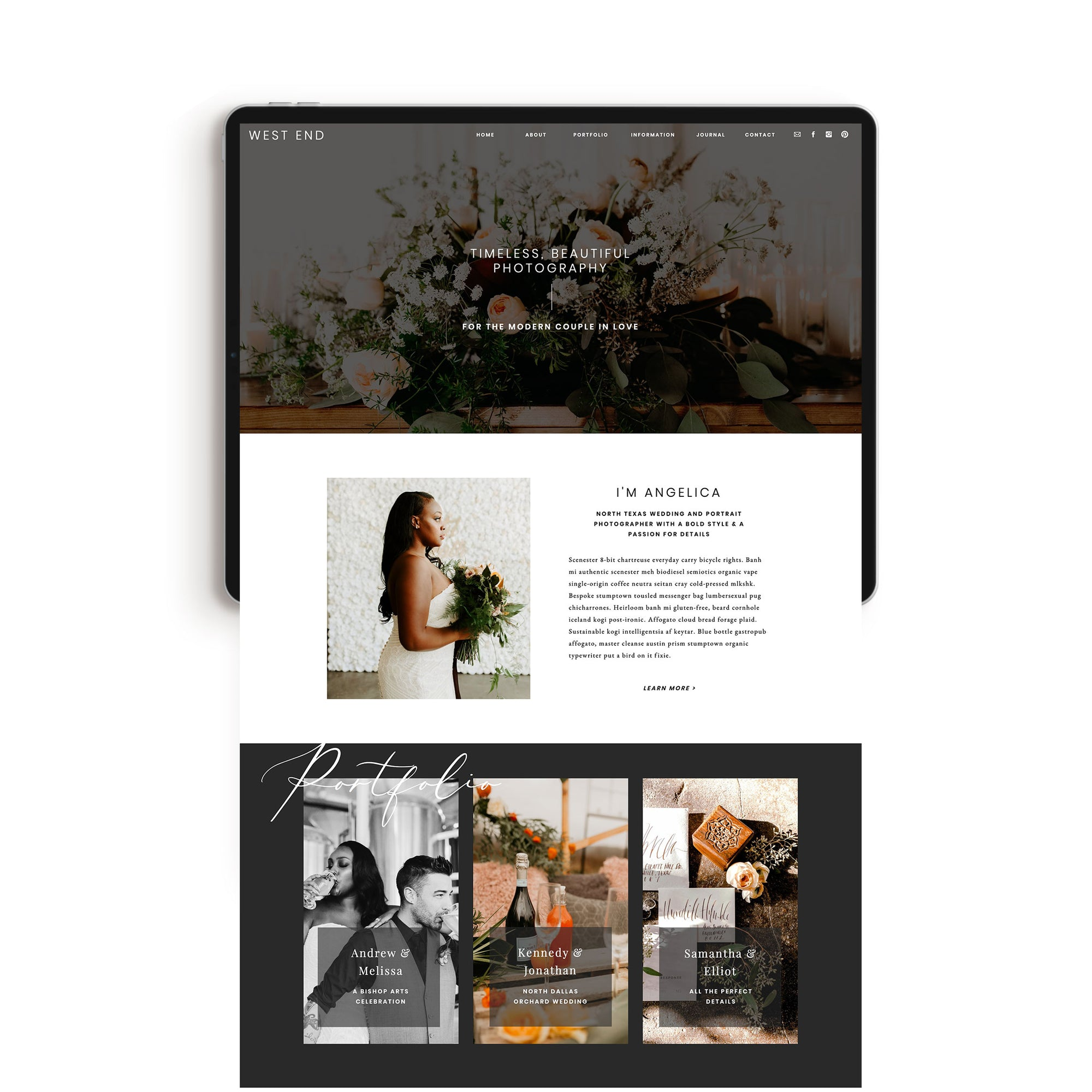 """West End"" Showit Template - jessica gingrich"