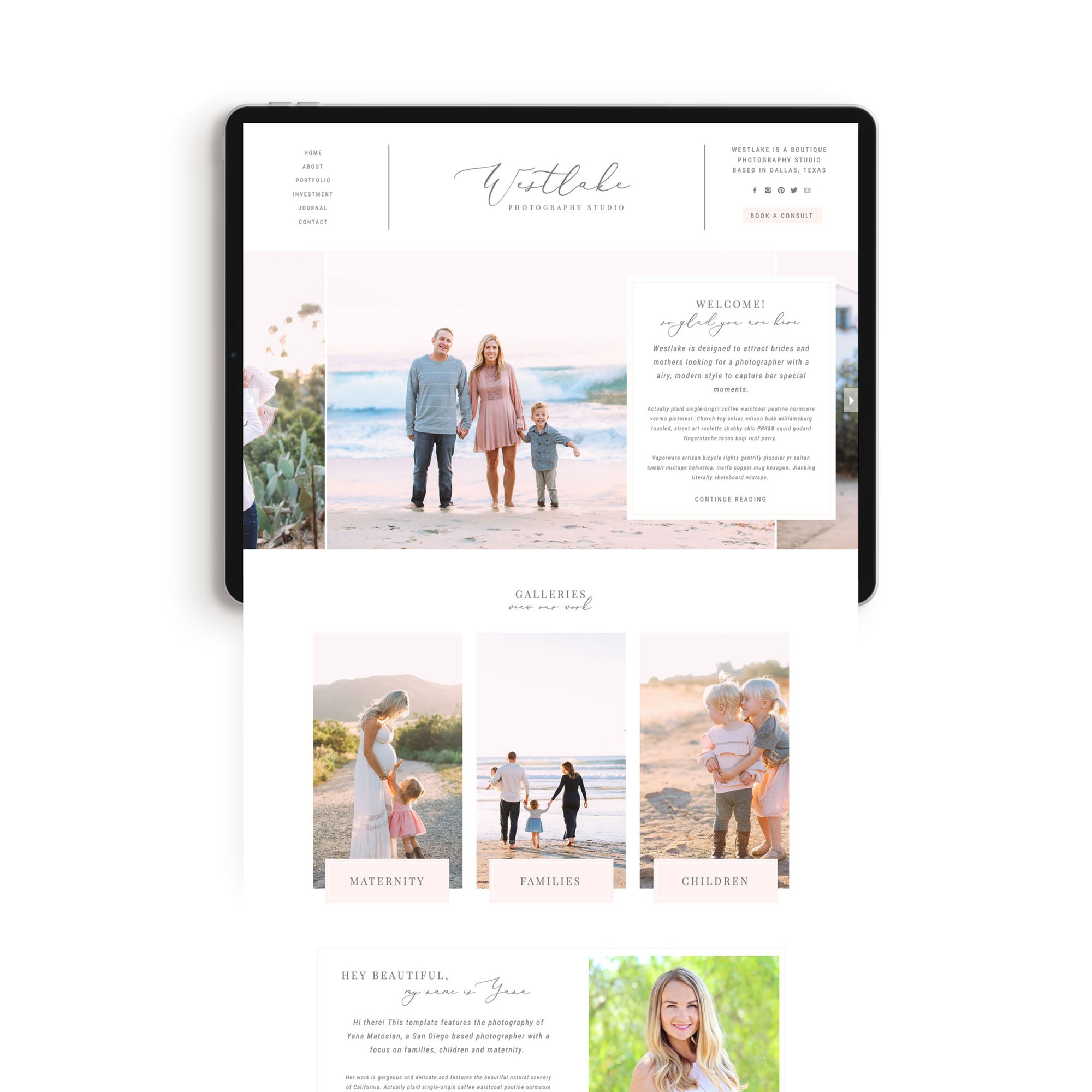 """Westlake"" Showit Template - jessica gingrich"