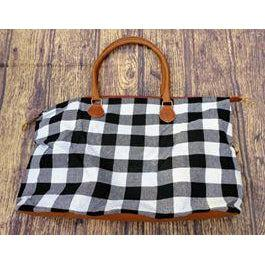 White Buffalo Plaid Weekender Tote-Tote bag-Your Southern Heart Boutique-Your-Southern-Heart-Boutique