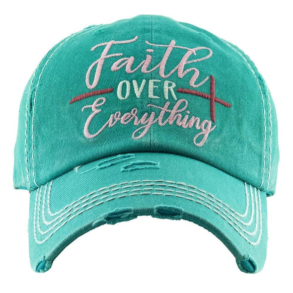 Faith over Everything-vintage, distressed, trucker, hat