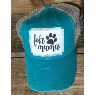 Fur Mama Ponytail  -vintage, distressed, trucker, hat handmade patch
