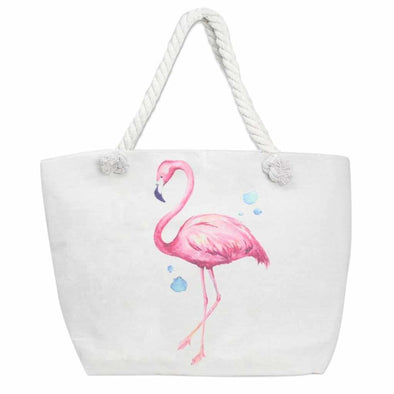 Canvas Flamingo Beach Tote Bag-Tote bag-Your Southern Heart Boutique-Your-Southern-Heart-Boutique