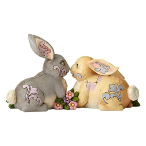 Two Sitting Bunnies by Flowers