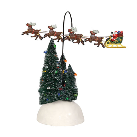 up up and away flying sleighthis is classic animated piece showing the most iconic of santa scenes with his reindeer leading the way santa flys around
