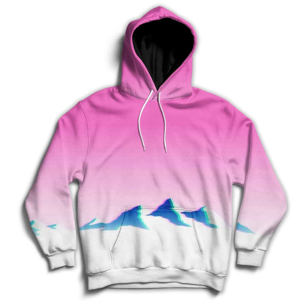 Pink & White Mountains Hoodie - DankApparel
